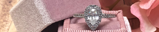 14K White Gold and .33cttw Diamond Pear Shape Halo Engagement Ring