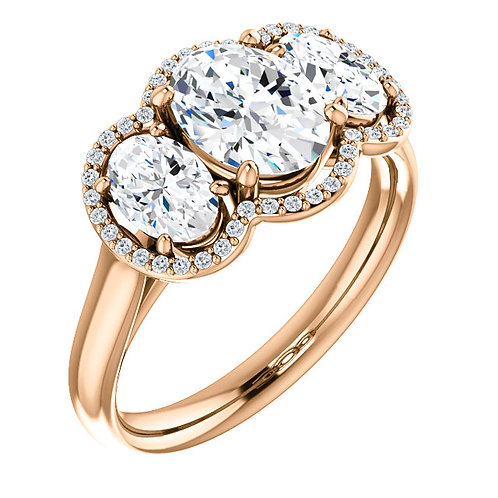 14K rose gold diamond ring with three oval diamonds. Oval diamond halo engagement ring. Oval diamond 3-stone ring. Oval ring.