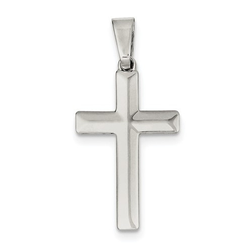 Sterling silver beveled mens cross pendant jewelry elk river sterling silver cross pendant cross necklace christian jewelry mens cross gents cross mozeypictures Image collections