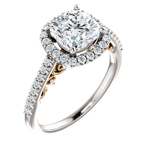 14K white gold diamond accented halo engagement ring with rose gold filigree accent in gallery with peek-a-boo diamond accent
