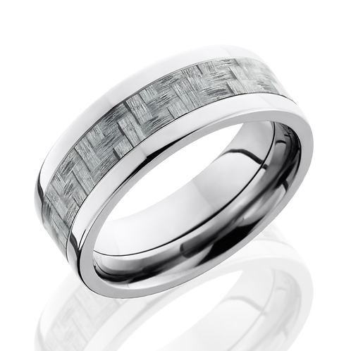 Men's titanium wedding band with silver carbon fiber inlay. Carbon fiber men's ring. Silver carbon fiber ring. Carbon fiber.