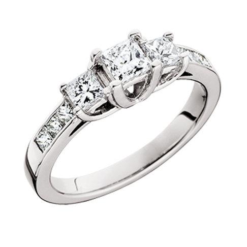 14K White gold and princess cut diamond three stone engagement or anniversary ring. Three stone anniversary ring. Engagement.