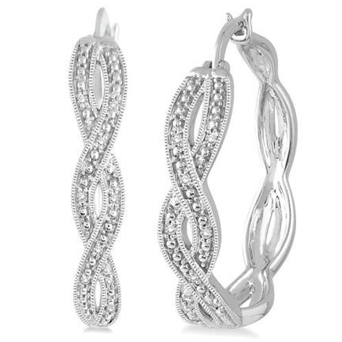 Braided sterling silver hoop earrings. Sterling silver diamond hoop earrings. Braided sterling silver diamond hoop earrings.
