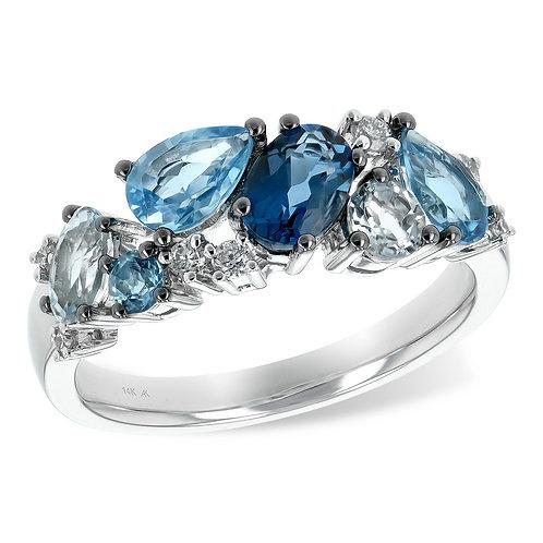 14K white gold diamond and blue topaz mixed shape ring. White gold mixed shape blue topaz ring. London swiss sky blue topaz.