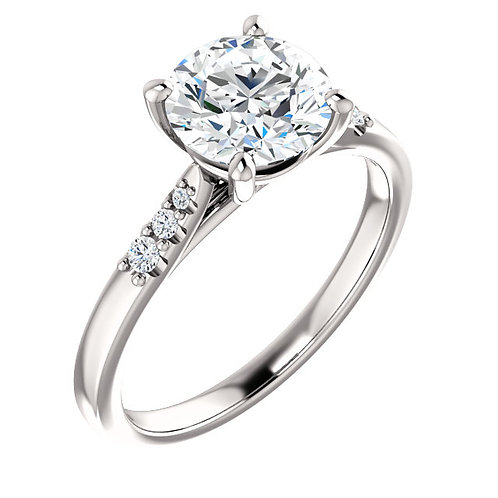 14K white gold and diamond engagement ring. Diamond engagement ring with diamond accented shank. Diamond accented engagement.