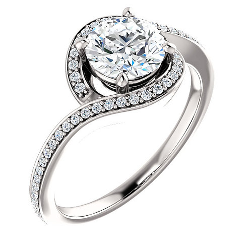 14K white gold diamond engagement ring. Bypass style diamond engagement ring. Diamond accented engagement ring. White gold.