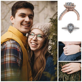 Custom ring design for happy couple at Thurber Jewelers. Custom engagement ring. Custom ring design. Custom engagement ring design for happy couple. Rose gold engagement ring custom designed by Evan Silbert at Thurber Jewelers.