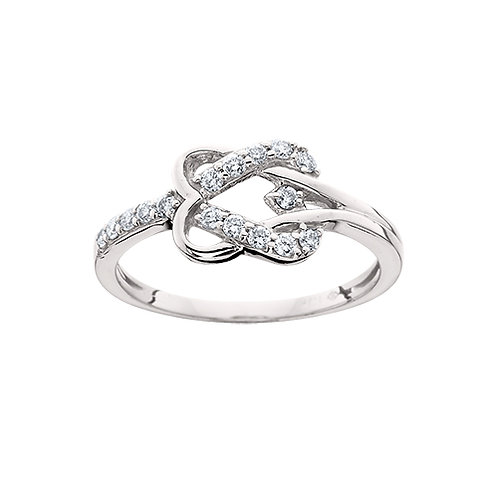 10K white gold and diamond heart ring. Double heart ring. Diamond heart band. Heart knot ring. White gold knot ring. Diamonds