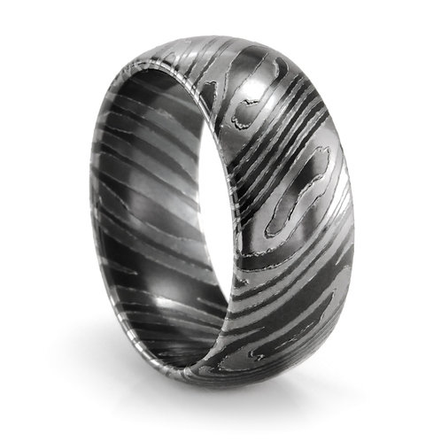 Men's black titanium wedding ring. Men's mokume gane style titanium wedding ring. Men's band. Men's black wedding ring. Men's