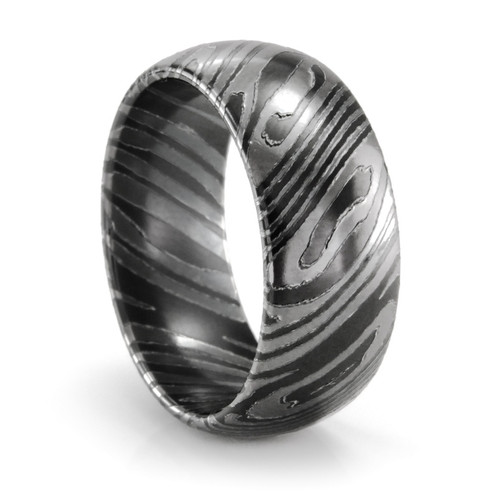 mens black titanium wedding ring mens mokume gane style titanium wedding ring mens band - Titanium Wedding Ring
