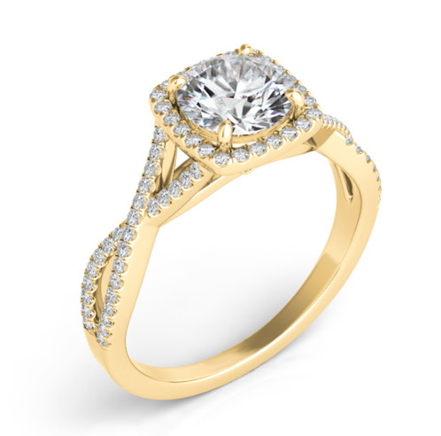 14K Gold and 30cttw Diamond Twisted Band Halo Engagement Ring