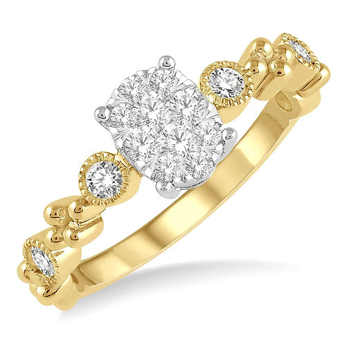 """14K yellow gold vintage inspired oval center """"WOW!"""" diamond engagement ring. Bezel set accent stones. Diamond accents. Gold."""