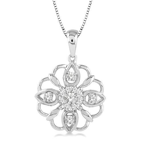 """14K white gold diamond pendant with snowflake design and """"WOW!"""" diamond centerpiece. Diamond pendant with diamond accents."""