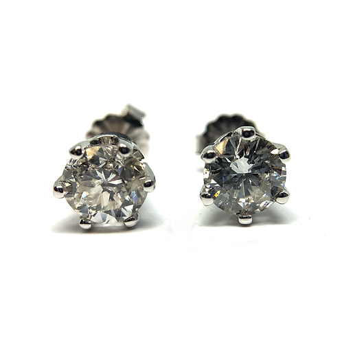 14K white gold diamond earring stud earrings. Diamond studs. White gold diamond studs. 6-prong diamond studs. White gold.