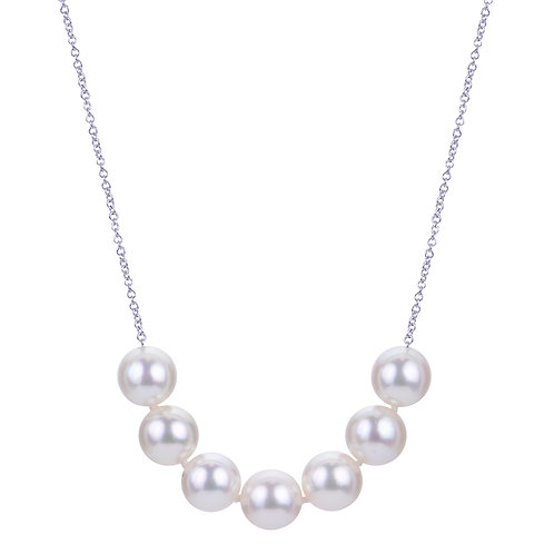14K white gold cable chain with Akoya pearls. Cultured pearl necklace. Saltwater pearl necklace. Pearl necklace. Pearl strand