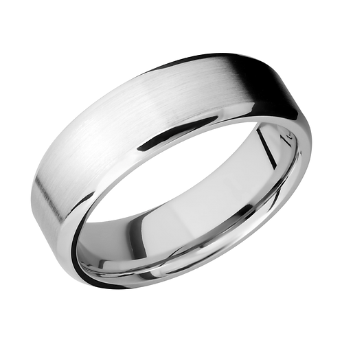 Cobalt chrome wedding band. Men's cobalt chrome wedding ring with polished beveled edges. Men's ring. Men's band. Men's ring.