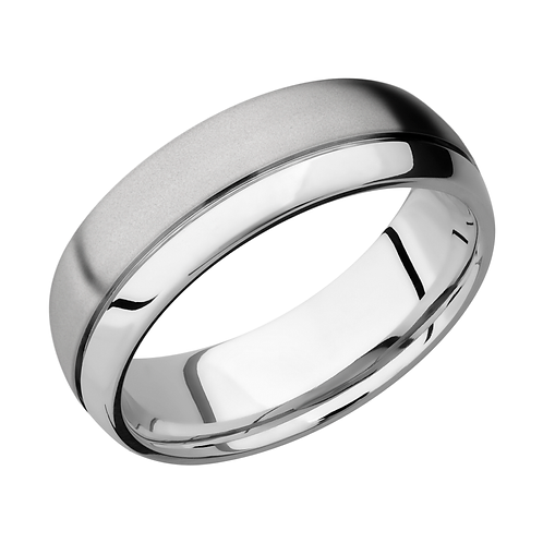 Men's cobalt chrome wedding band with groove and satin finish. Polished and satin finish. Dual finishes. Men's band. Men's.