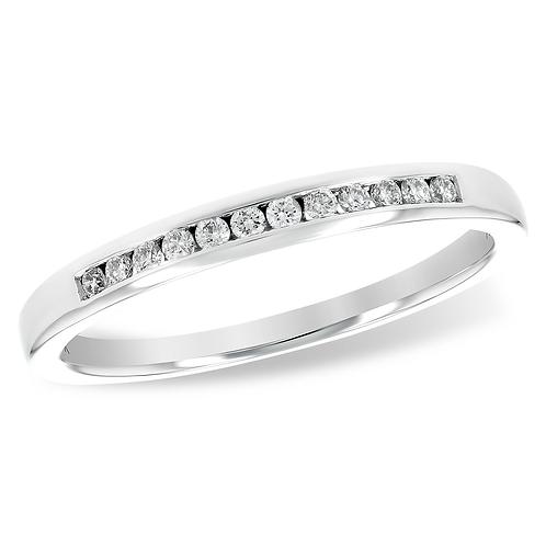 14K white gold diamond anniversary band. White gold channel set anniversary ring. White gold diamond ring. White gold ring.