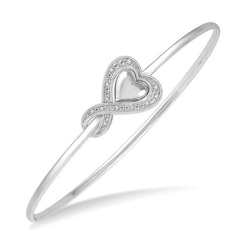 Sterling silver diamond double heart infinity flexible bangle bracelet. Sterling silver bracelet. Diamond bangle bracelet.