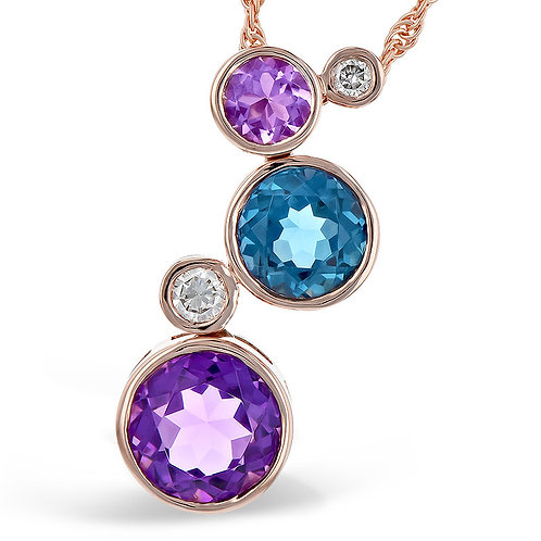 14K rose gold pendant with diamonds, Swiss blue topaz, and amethyst bezel set stones. Dangle pendant. Blue and purple dangle.