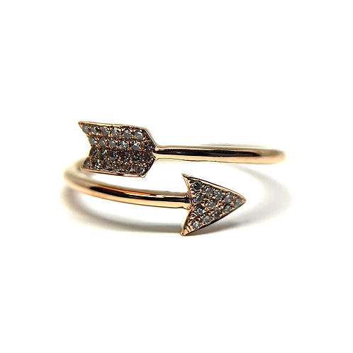 14K rose gold ring with diamond accented arrow design. Arrow ring. Arrowhead ring. Cupid's arrow ring. Arrow twist ring. Rose