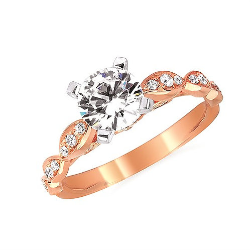 14K Rose gold vintage inspired three stone accented engagement ring. Diamond engagement ring. Diamond ring. Rose gold ring.