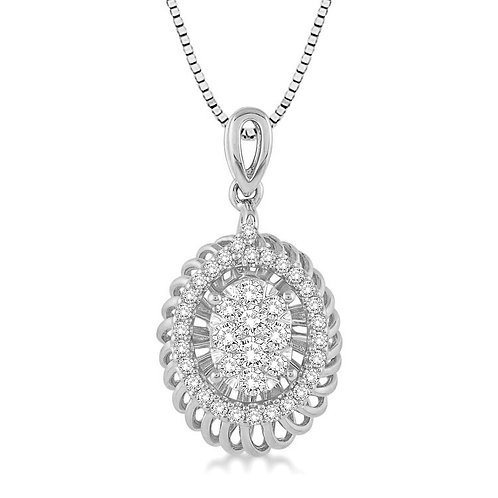 "14K White Gold and .33cttw ""WOW!"" Diamond Oval Basket Pendant"