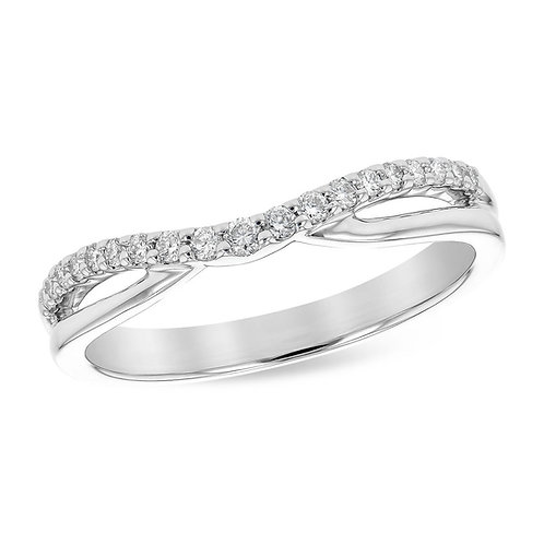 14K white gold curved diamond band. Contoured band. Stackable curved band. Wedding band. Diamond wedding ring. White gold.