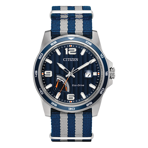 Citizen mens watch with blue accents, blue dial and blue NATO strap band. Fabric band. Gents watch. Solar watch. Ecodrive.
