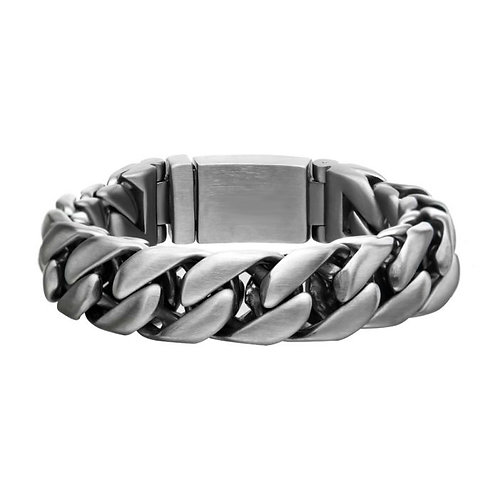 Men's stainless steel double layer curb chain bracelet. Matte finished stainless steel double layer curb bracelet. Mens chain