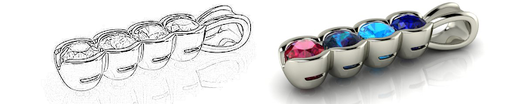 Custom Mother's Ring Sketch and Rendering