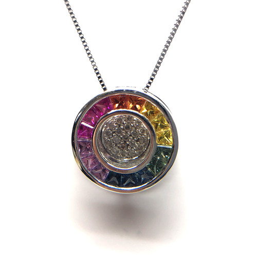 18k white gold rainbow sapphire and 12cttw diamond slide pendant 18k white gold diamond and sapphire pendant rainbow sapphire pendant sapphire necklace aloadofball Image collections