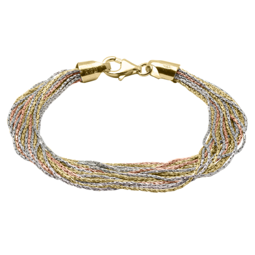 Sparkle bracelet. Three tone bracelet. Rose and yellow gold plated sterling silver bracelet. Soft bracelet. Made in Italy.