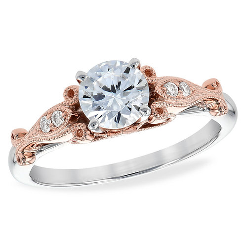 14K white and rose gold two tone engagement ring. 2-tone engagement ring. Two-tone engagement ring. Diamond engagement ring.
