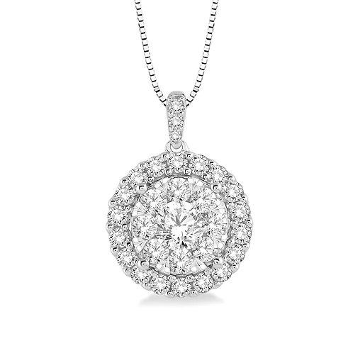 """14K white gold diamond halo pendant. """"WOW!"""" diamond halo pendant. Diamond cluster pendant."""