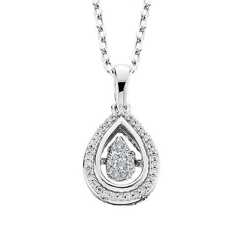 14K white gold pear shaped dancing diamond pendant. Diamond dancer pendant. Pear shaped diamond necklace. Pear diamond.