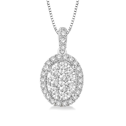 """14K white gold oval halo """"WOW!"""" diamond pendant. Diamond halo necklace. Oval diamond pendant. Oval halo pendant. Diamond halo"""