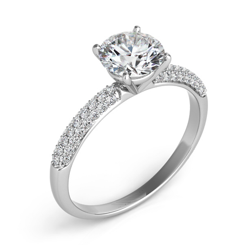 14K White Gold engagement ring with micro pave diamonds and round brilliant diamond center. SI1 diamonds. White gold.
