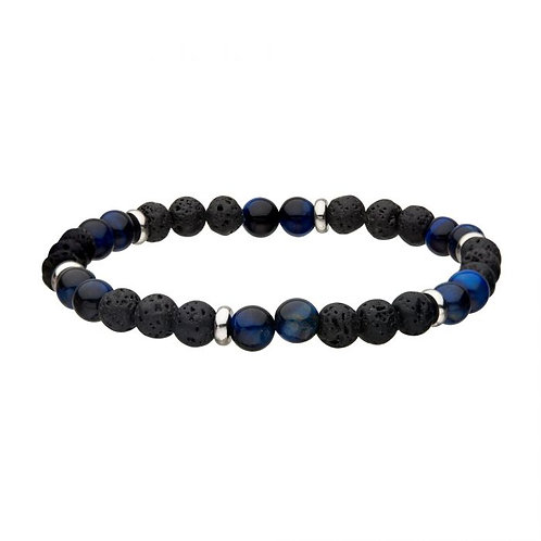 Black lava rock and blue tiger's eye beaded stretch bracelet with stainless steel accent beads. Mens stretch bracelet. Men's.