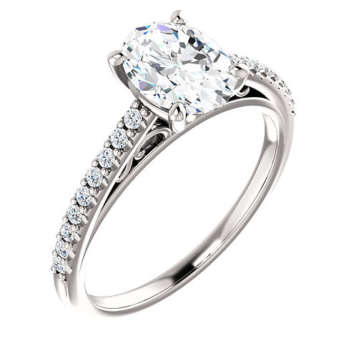 14K white gold diamond engagement ring with diamond accented shank and filigree accented gallery. Vintage inspired engagement