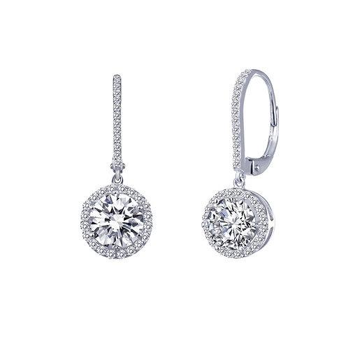 Simulated diamond halo dangle earrings. Leverback earrings. Halo earrings. Platinum plated sterling silver. Dangle earrings.