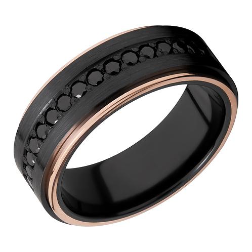 Men's black zirconium ring with black diamonds and 14K rose gold edges. Rose gold trimmed black ring. Black and rose gold.