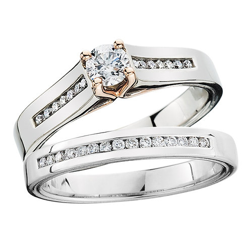 14K white and rose gold complete engagement ring and wedding band set with channel set diamond accents. White gold engagement