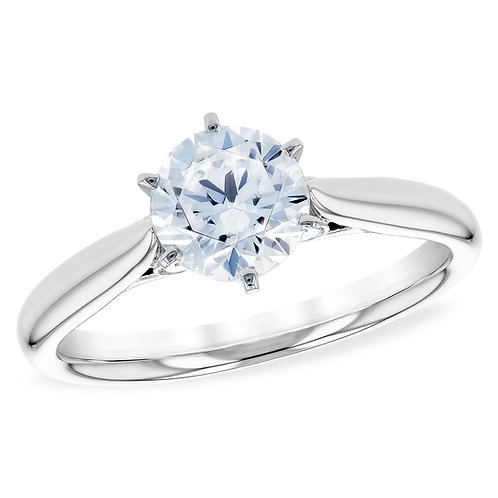 14K white gold diamond solitaire engagement ring with bezel set peek-a-boo diamonds in gallery. Diamond ring. White gold ring