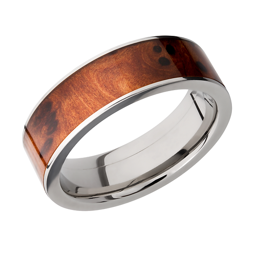 Men's titanium wedding band with thuya burl wood inlay. Men's wedding ring. Men's wedding band. Men's wood ring. Men's wood.