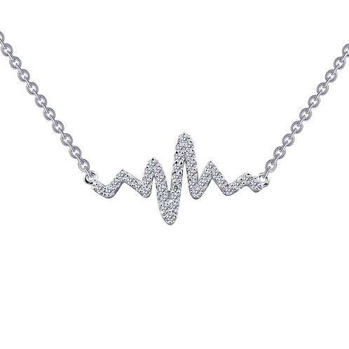 Sterling silver and simulated diamond heartbeat pendant necklace. Heartbeat bar necklace. Lifeline necklace. Wave necklace.