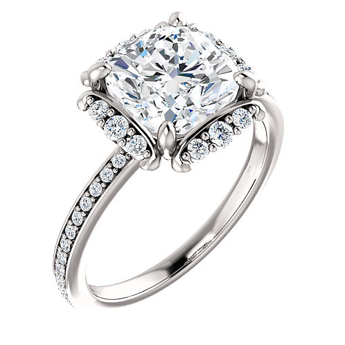 14K white gold floral inspired halo engagement ring with channel set accent diamonds. Prong set channel diamonds. White gold