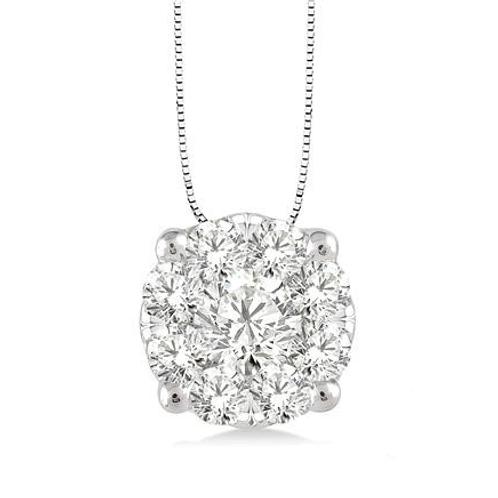 WOW! Diamond pendant. White gold diamond pendant. White gold cluster pendant. White gold diamond halo.