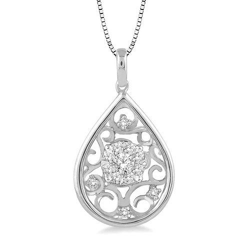 "14K white gold diamond teardrop pendant necklace. Teardrop with ""WOW!"" diamond center and diamonds in filigree accent design"