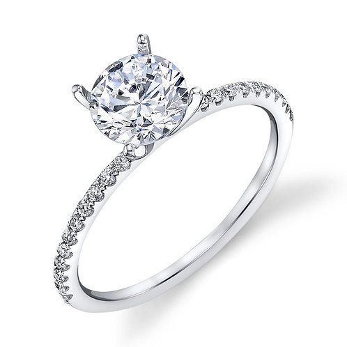 14K white gold slim stackable engagement ring with diamond accented shank. Diamond engagement ring. Diamond ring.